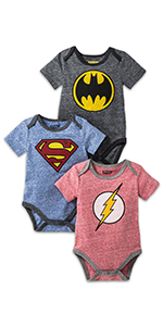 super heroes dc comics baby clothing fashion superman batman flash onesie