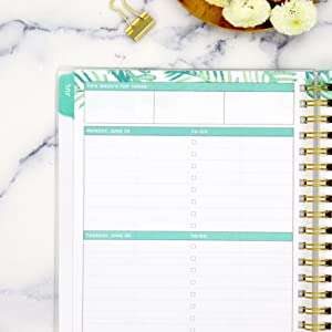 blue sky planner, day designer collection, closeup of weekly page, palm leaf design, calming green