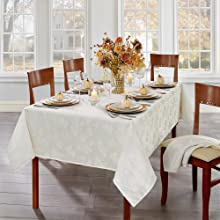 Elrene Home Fashions Elegant Woven Leaves Tablecloth
