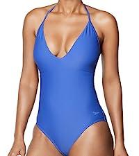 Speedo Women's Swimsuit One Piece V-Neck Halter Contemporary Cut