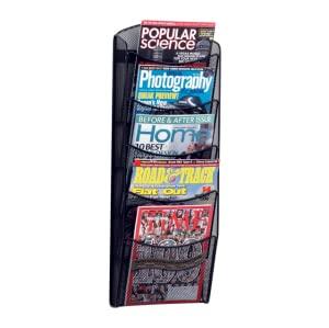 magazine rack, rack, magazine, five pocket, organization, office, lounge, mesh