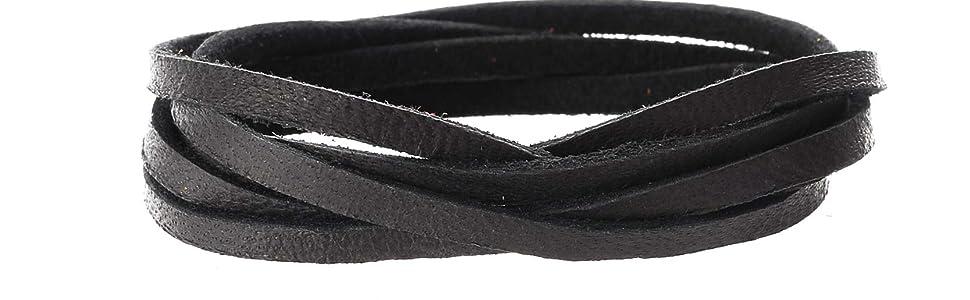 Deerskin black leather lace