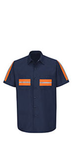 enhanced visibility shirt, safety shirt, reflective work shirt, reflective shirt