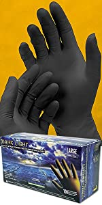 Dark Light, Nitrile, Disposable Gloves, 9mil thick, auto, mechanic, industrial, exam grade, black