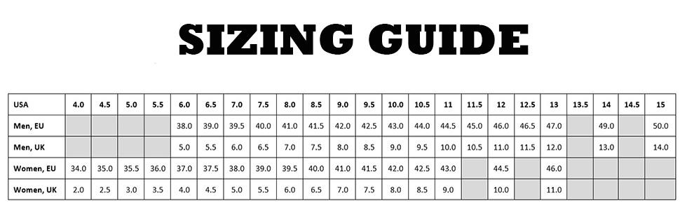 supra sizing guide