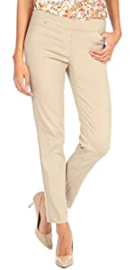 Narrow Leg Slimming Pant for Women front pocket wear to Work Pull-On Easy On Stretch Pant for women
