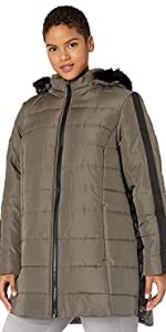 Plus Size Diamond Quilt Puffer Coat with Fashion Faux Fur Trim