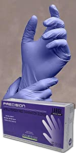 Precision Purple nitrile disposable gloves 4mil thick dental