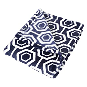 hexagon baby blanket, plush navy baby blanket, navy and white baby blanket