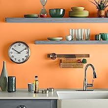 orange kitchen, interior design