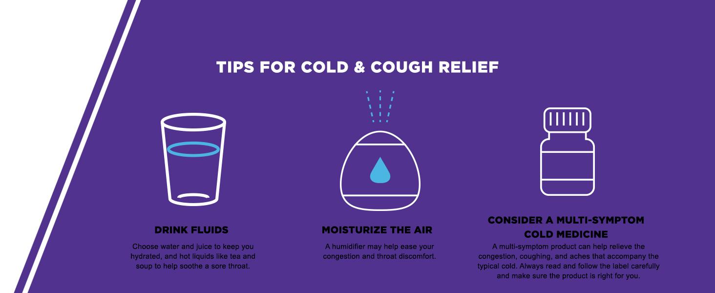 cold & cough relief tips, multi-symptom cold medicine,  sore throat, cold relief, cough relief
