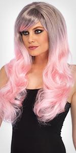 wig, ombre, pink, gray