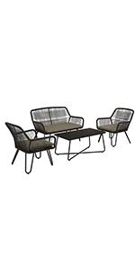 novogratz 4 piece conversation set;conversation set;novogratz outdoor;outdoor furniture;outdoor set
