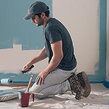 contractor, painter, blue paint, man painting, house paint