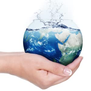 bowl of water like a globe held in hands