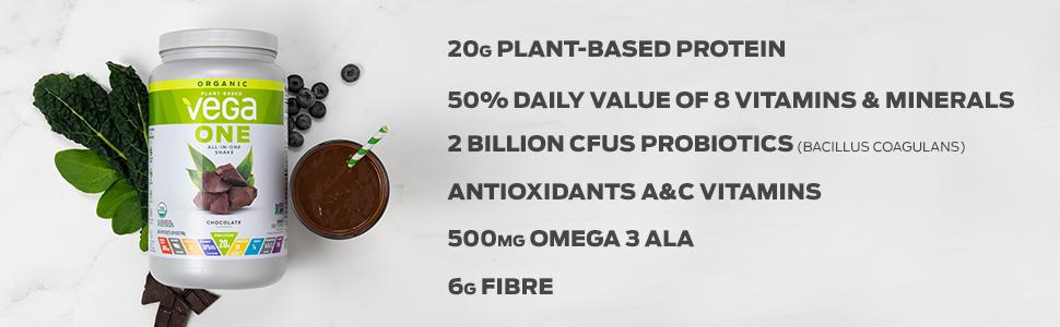 plant-based protein vitamins and minerals probiotics antioxidants vitamin a and ac omega 3 fibre