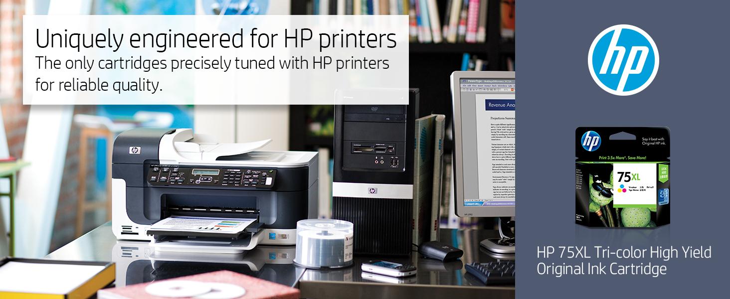 74 75 black color tri-color xl combo pack hp ink cartridges cartridge printer Hewlett Packard