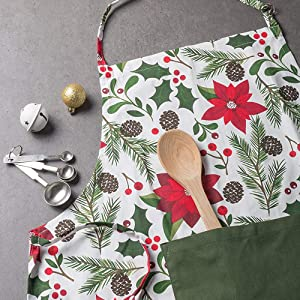 Apron has extra-long ties that allows for wrap around and a bow to be tied in the front if desired