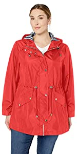 Plus Size Zip Front Hooded Anorak