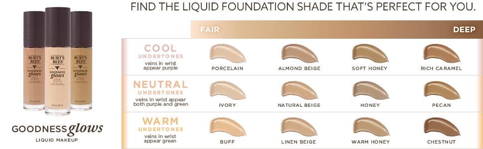 liquid makeup;natural foundation;full coverage;for fair skin;dark;medium skin;pale skin;ivory;beige