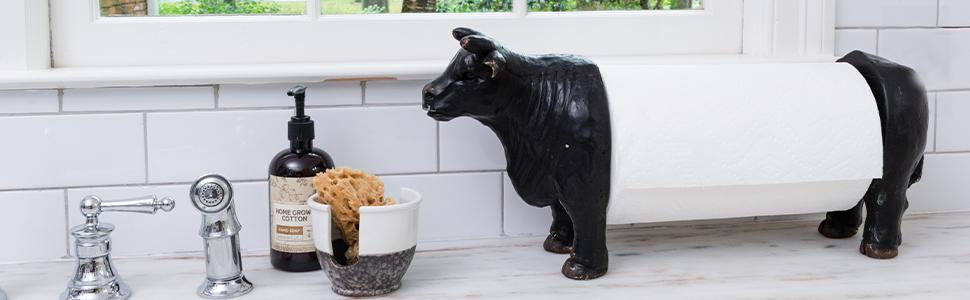 ox, cow, goat, pig, sheep, paper towel holder, napkin, kitchen
