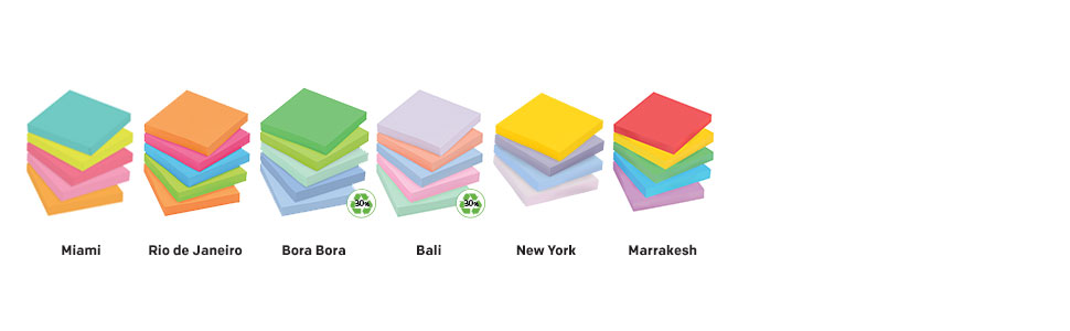 Post-it Notes in colors: Miami, Rio de Janeiro, Bora Bora, Bali, New York and Marrakesh
