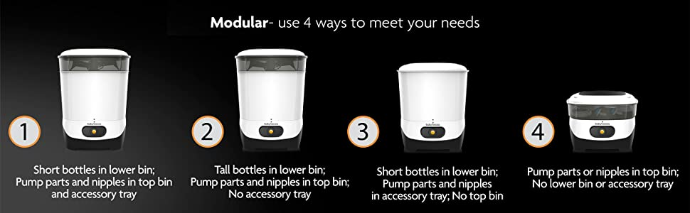 modular - use 4 ways to fit your needs for tall or short bottles