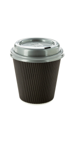 Take these black paper coffee cups with lids on the go with your coffee, latte, or cappuccino.