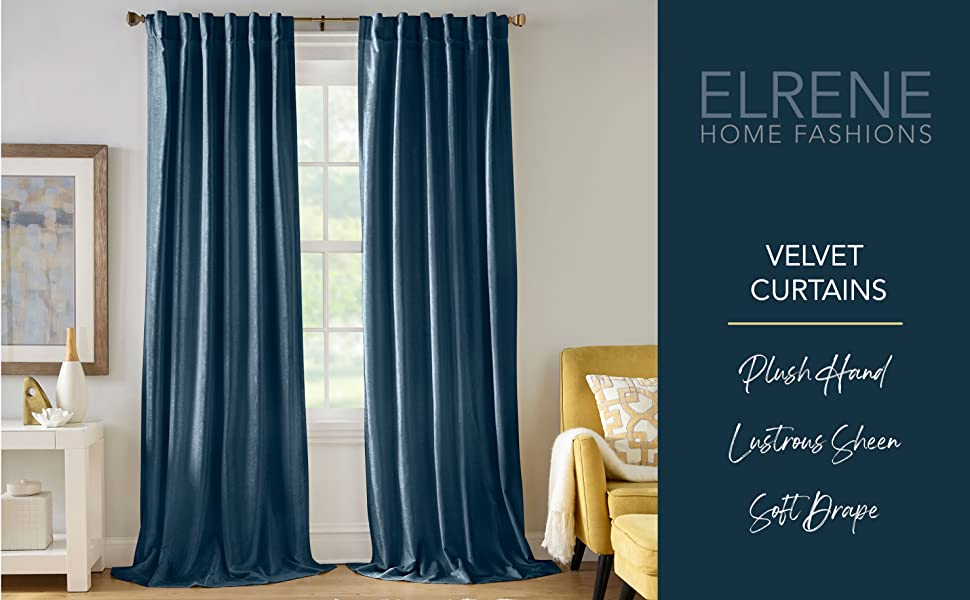 Carnaby Velvet Window Curtains Elrene Home Fashions