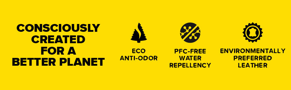 consciously created for a better planet eco anit odor pfc free water repellency environmentally