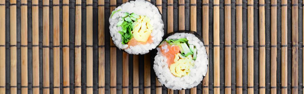 Sushi on mat