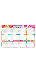 blue sky, mahalo collection, 2020-2021, bold florals, 36x24, monthly, laminated, calendar