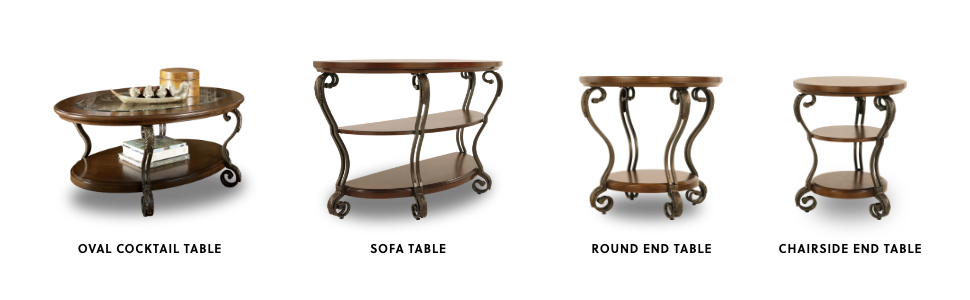 Cocktail table, sofa table, end table, round end table
