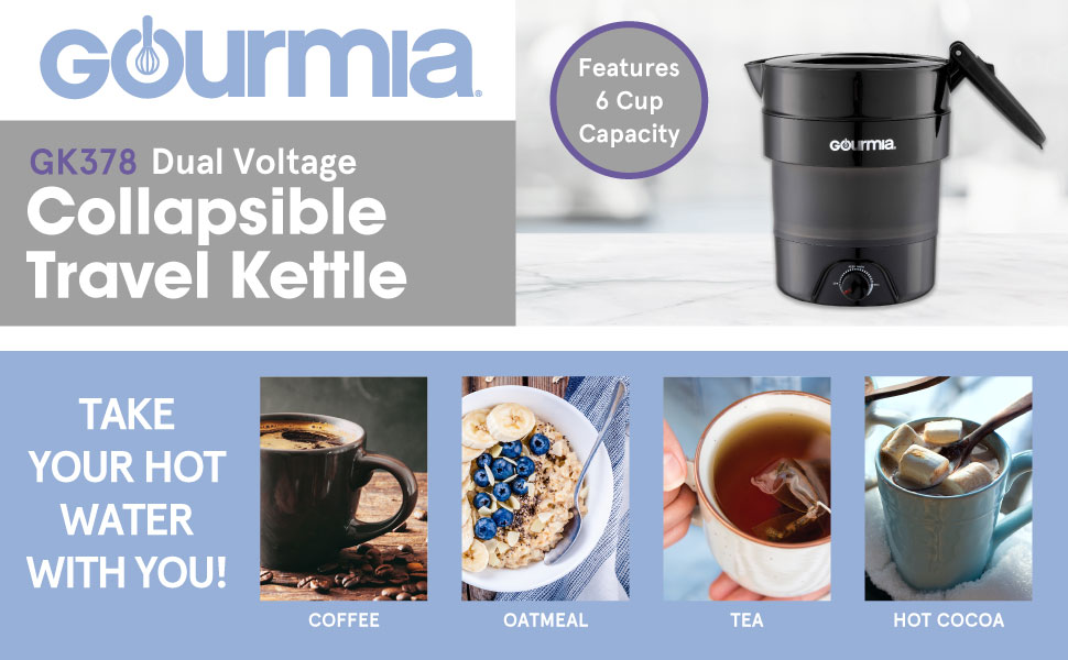 Product images and features of the Collapsible Kettle from Gourmia.