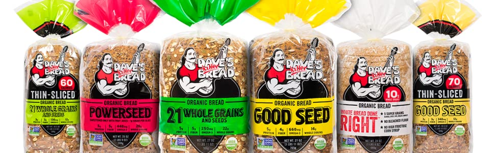 Dave's Killer Bread, 21 Whole Grains + Seeds, Powerseed, Good Seed, White Bread Done Right