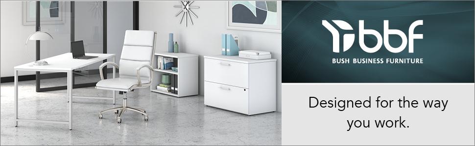 bbf,bush business furniture,bush,400 series,white,contemporary