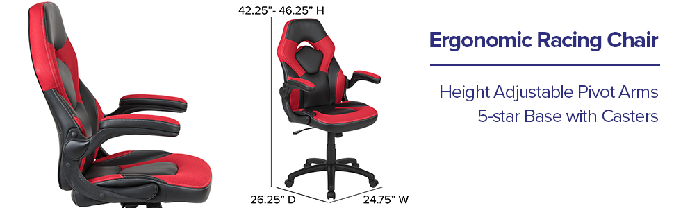 Ergonomic racing chair height adjustable