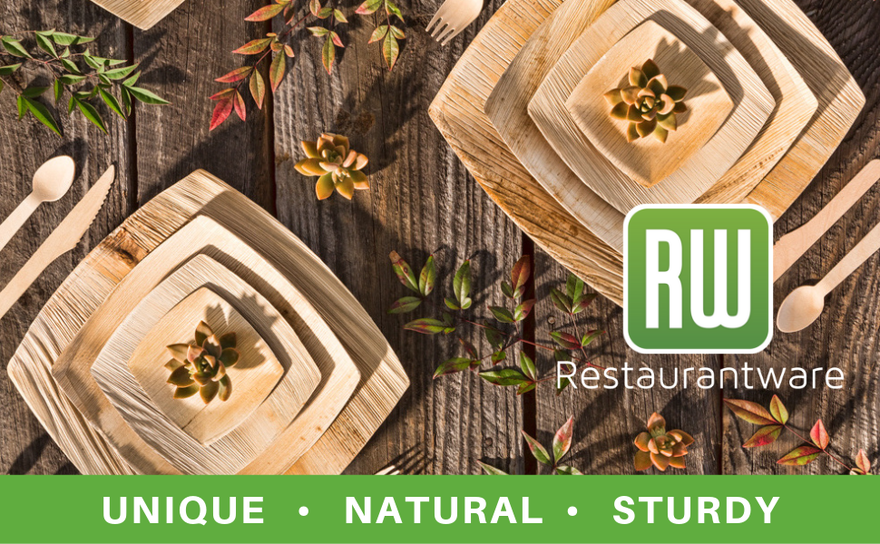 Restaurantware palm plates and palm leaf bowls are made from palm leaves and are sturdy.
