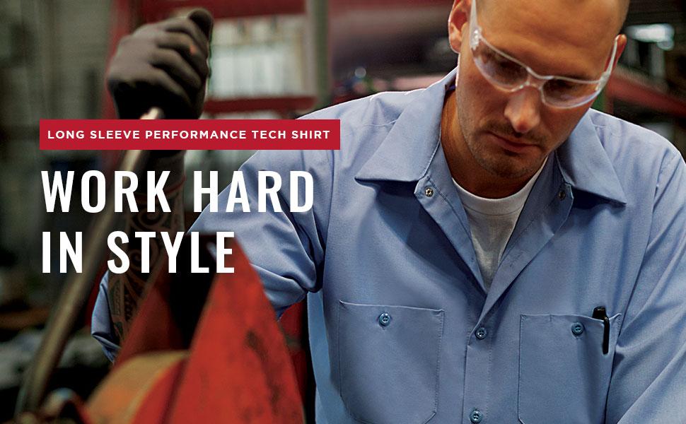 long sleeve performance tech shirt, long sleeve work shirt, long sleeve auto work shirt