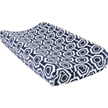 hexagon changing pad cover, plush changing pad cover, navy and white changing pad cover