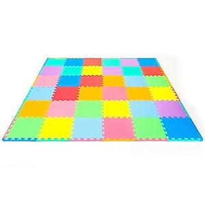 ProSource Kids Play Puzzle Mat Protective Flooring Interlocking Tiles (36 Pieces)