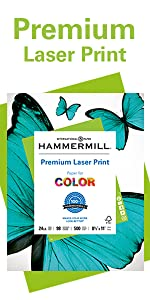 Hammermill Premium Laser Print 24 lb letter size print and copy paper, 500 sheets, Made in the USA.