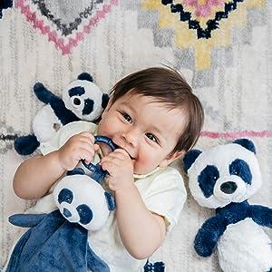 little boy baby gund blue panda rattle lovey plush stuffed animal