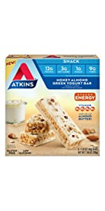 honey almond snack bar protein breakfast bar almond butter atkins low carb diet energy yogurt