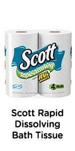 Need septic-safe bath tissue? Scott Rapid Dissolving toilet paper is gentle and breaks up fast.