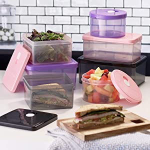 fruit, vegetable, sandwich, sandwich container, salad container, food prep, meal storage, travel