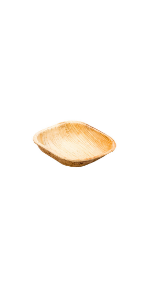 Each palm leaf bowl is made from hand-harvested Areca palm leaves and is sturdy and heat-resistant.