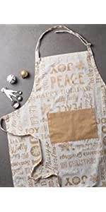 metallic apron,gold apron,print apron,xmas apron,