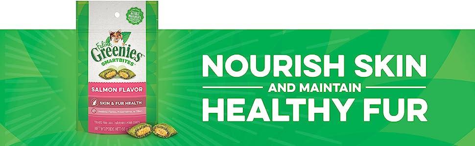 Nourish Skin and Maintain Healthy Fur, Feline Greenies, Salmon Flavor Cat Treats, Greenies for Cats