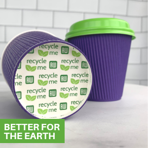 Disposable paper coffee cups with lids that make it easy to take drinks in the car or to the office.